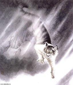 Кошка с полосатым хвостом