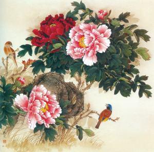 free-shipping-chinese-white-font-b-birds-b-font-peony-flower-scenery-font-b-oil-b